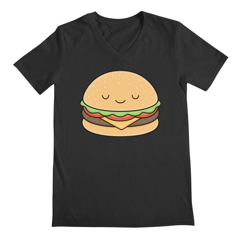 Happy Burger Men's V-Neck by Kim Vervuurt