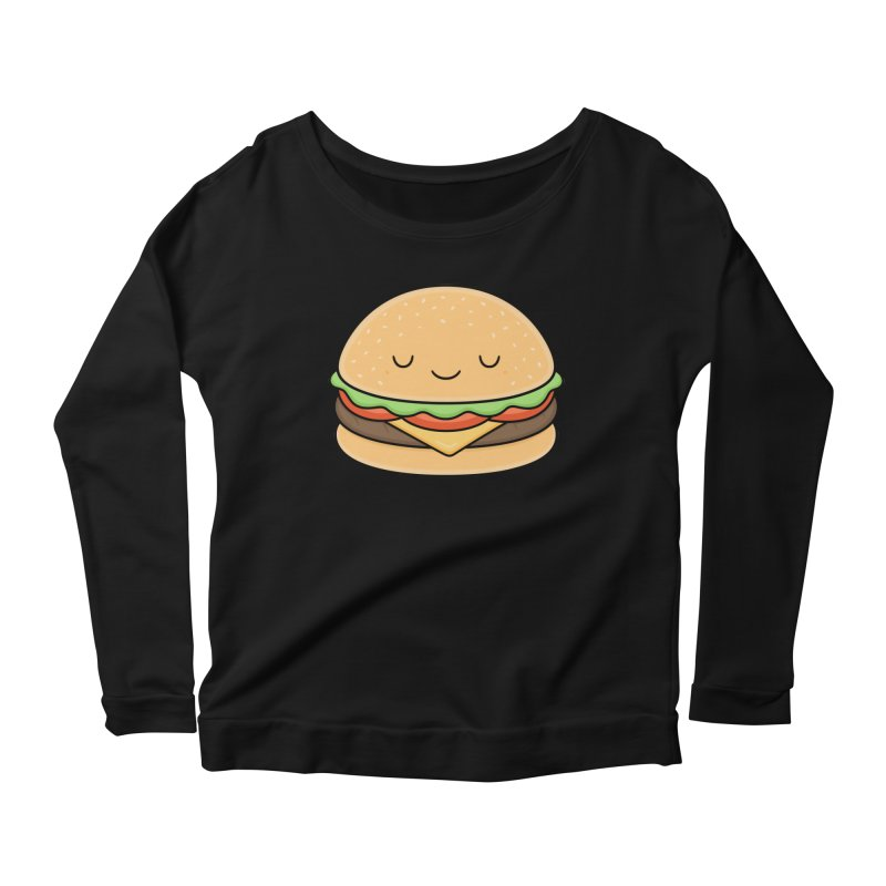 Happy Burger Women's Longsleeve Scoopneck  by Kim Vervuurt