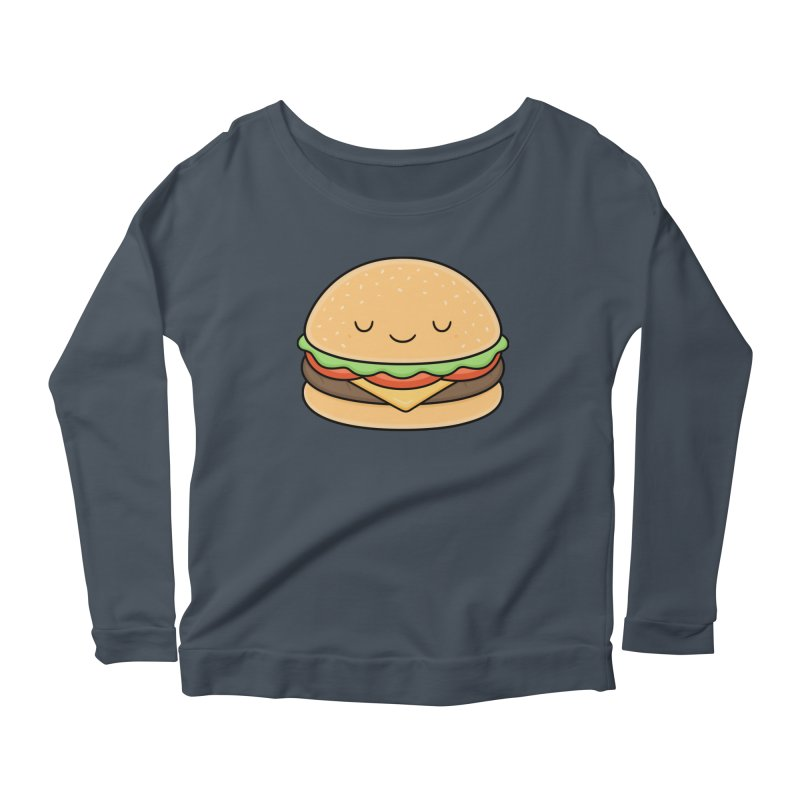 Happy Burger Women's Scoop Neck Longsleeve T-Shirt by Kim Vervuurt