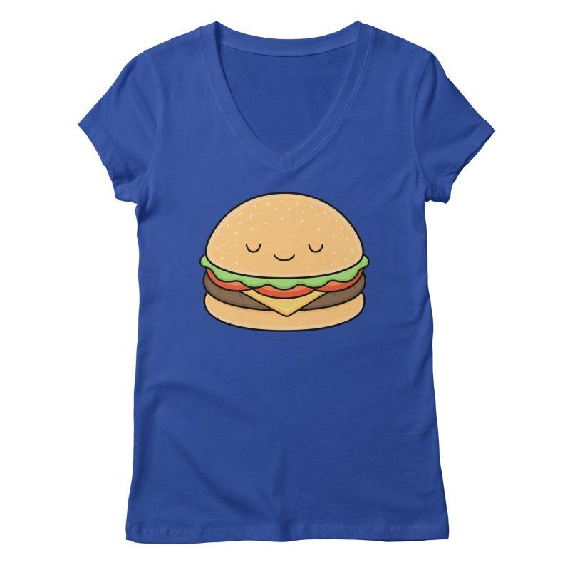 Happy Burger Women's Regular V-Neck by Kim Vervuurt