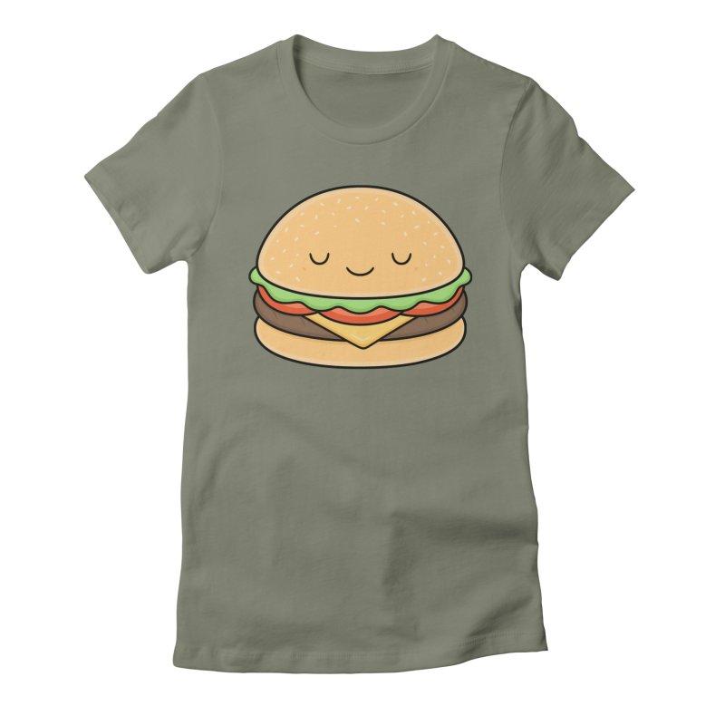 Happy Burger Women's Fitted T-Shirt by Kim Vervuurt
