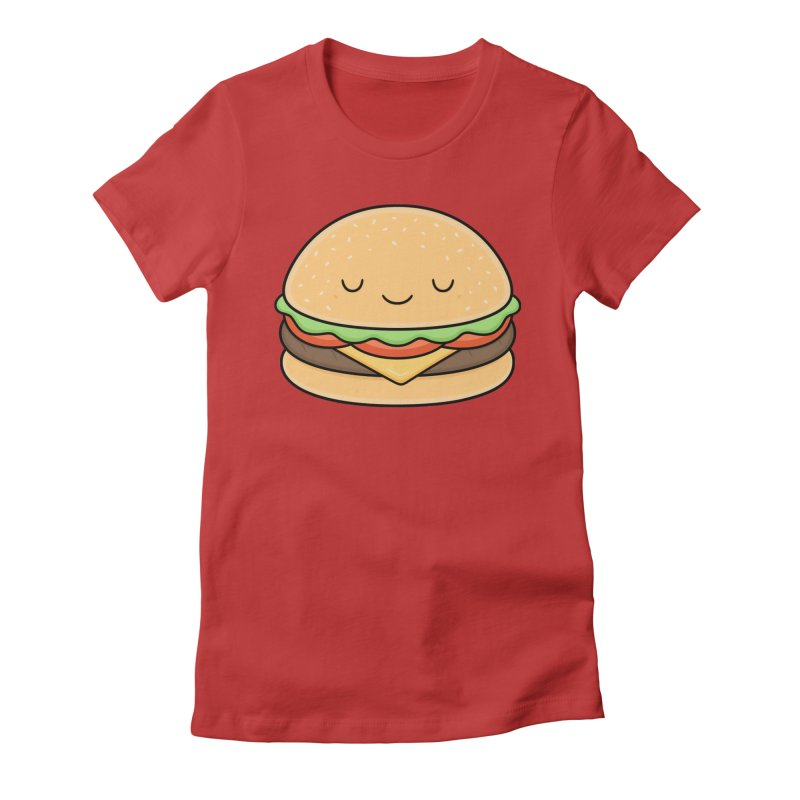 Happy Burger Women's Fitted T-Shirt by Kim Vervuurt
