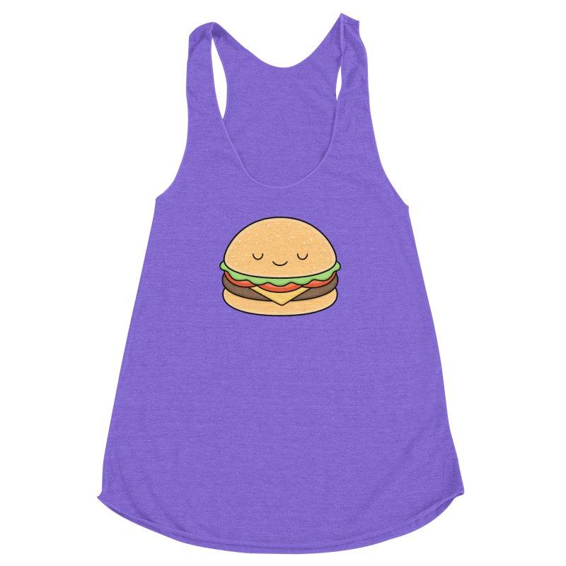 Happy Burger Women's Racerback Triblend Tank by Kim Vervuurt