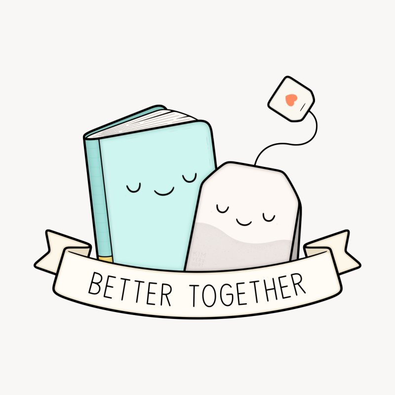 Books And Tea | Better Together Accessories Magnet by Kim Vervuurt