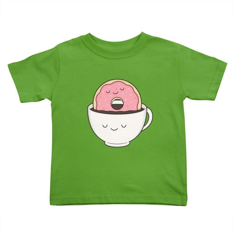 Coffee Loves Donut Kids Toddler T-Shirt by Kim Vervuurt