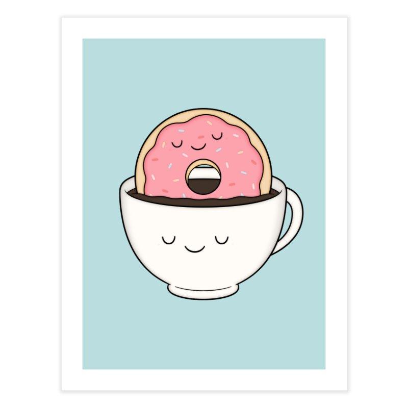 Coffee Loves Donut Home Fine Art Print by Kim Vervuurt