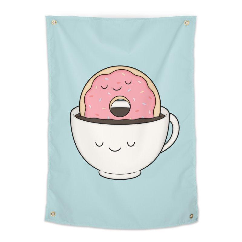 Coffee Loves Donut Home Tapestry by Kim Vervuurt