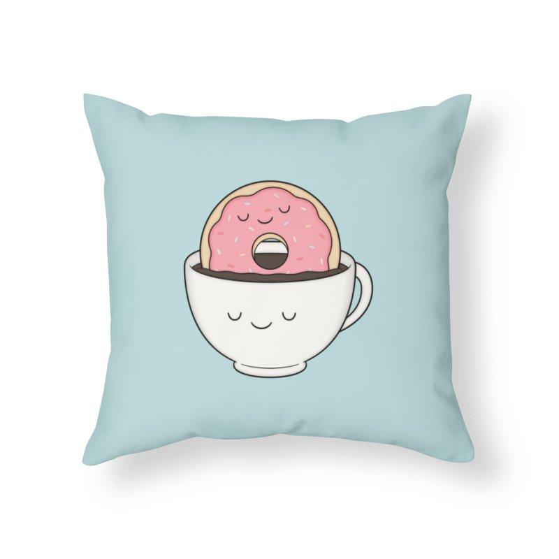 Coffee Loves Donut Home Throw Pillow by Kim Vervuurt