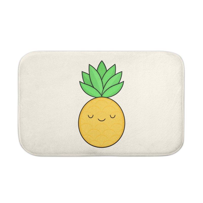 Happy Pineapple Home Bath Mat by Kim Vervuurt