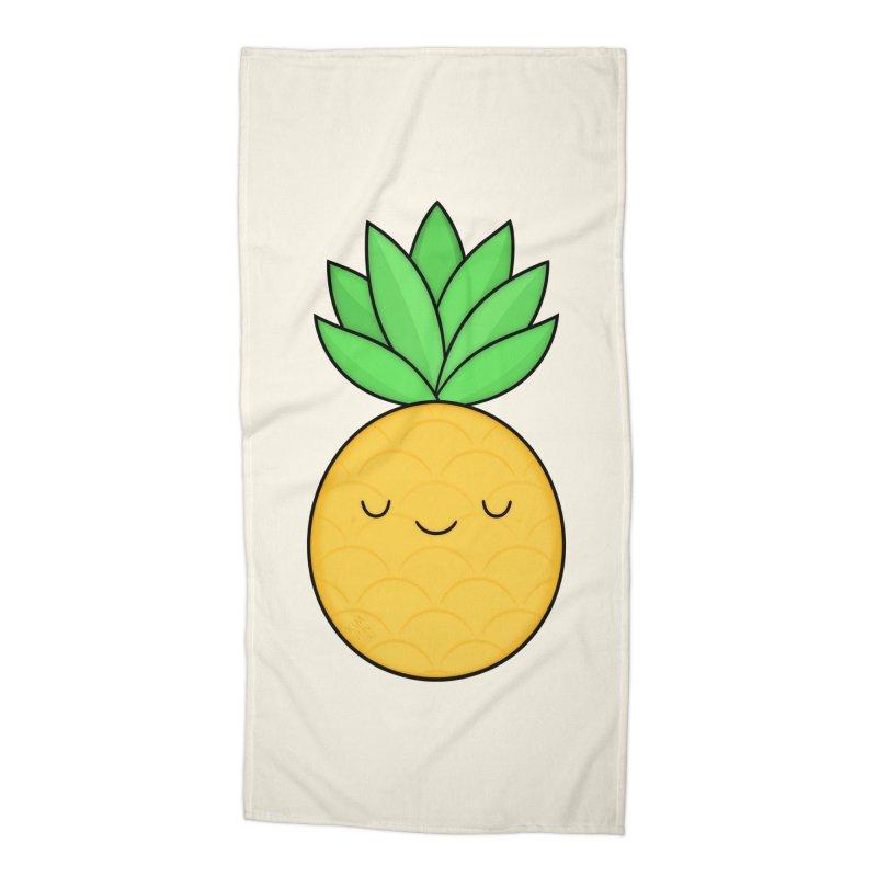 Happy Pineapple Accessories Beach Towel by Kim Vervuurt