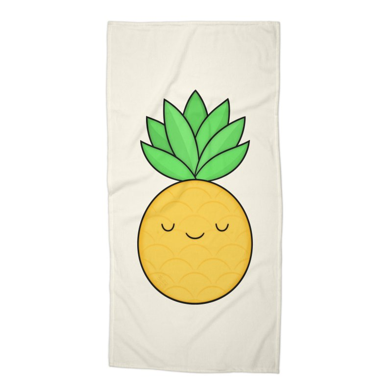 Happy Pineapple Accessories Beach Towel by Kim Vervuurt