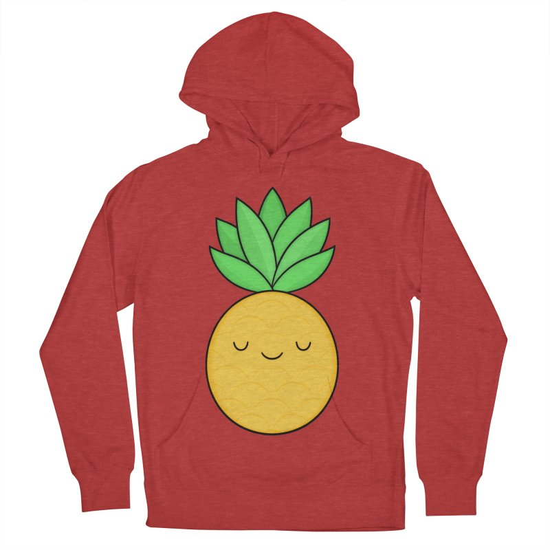 Happy Pineapple Men's French Terry Pullover Hoody by Kim Vervuurt