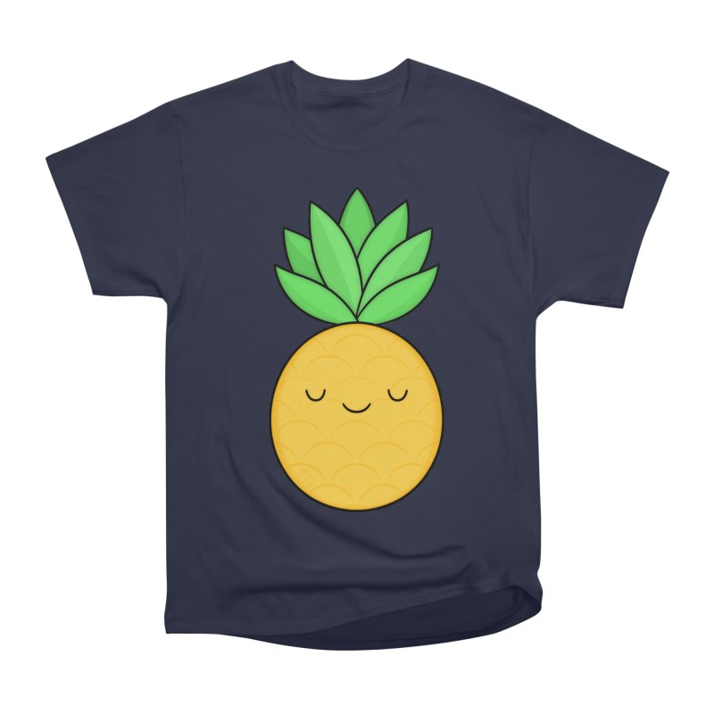 Happy Pineapple Women's Heavyweight Unisex T-Shirt by Kim Vervuurt