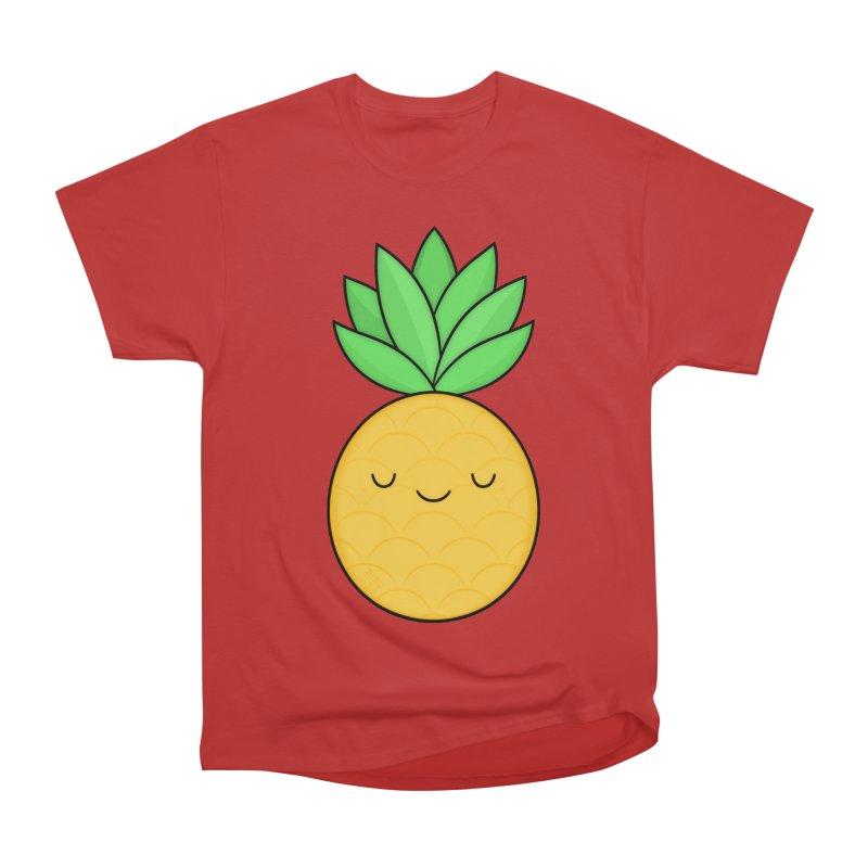 Happy Pineapple Men's Heavyweight T-Shirt by Kim Vervuurt
