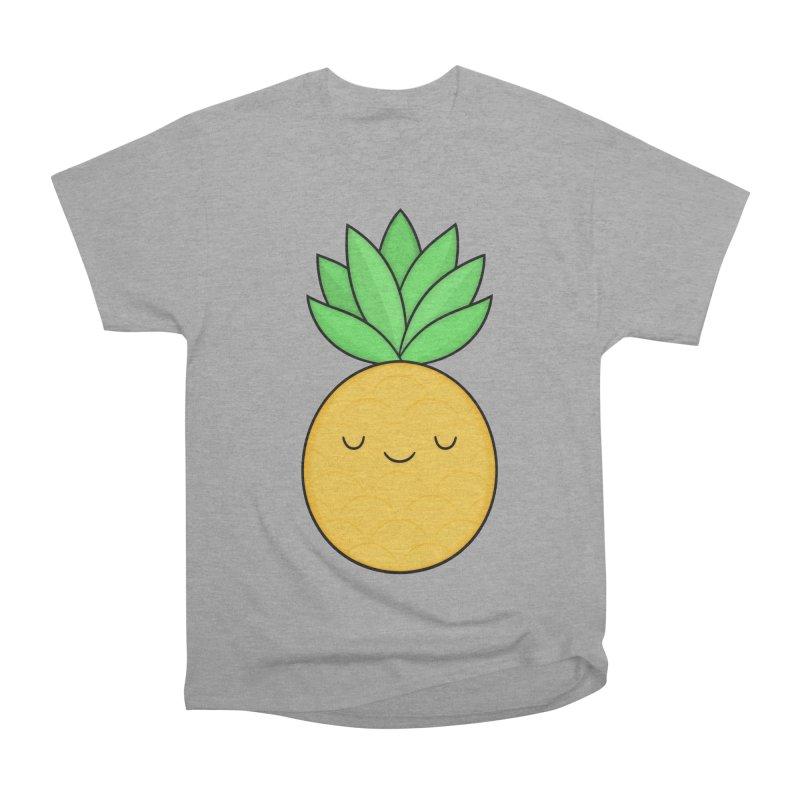 Happy Pineapple Women's Heavyweight Unisex T-Shirt by Kim Vervuurt