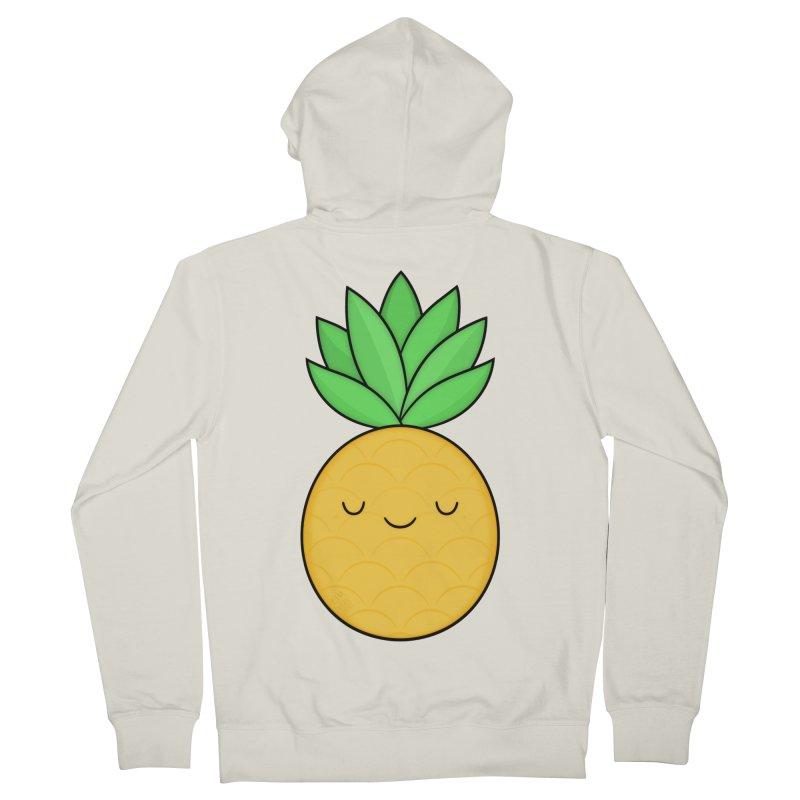 Happy Pineapple Men's French Terry Zip-Up Hoody by Kim Vervuurt