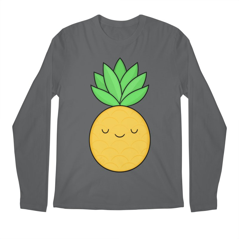 Happy Pineapple Men's Regular Longsleeve T-Shirt by Kim Vervuurt