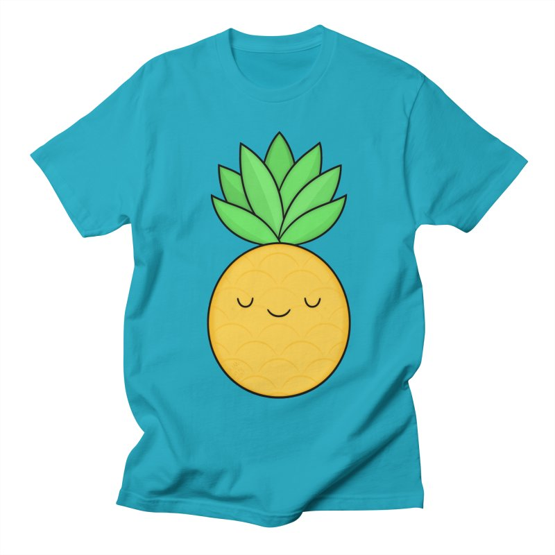 Happy Pineapple Women's Regular Unisex T-Shirt by Kim Vervuurt