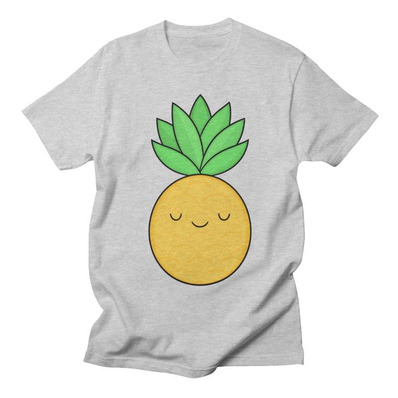 Happy Pineapple Women's Regular Unisex T-Shirt by Kim Vervuurt