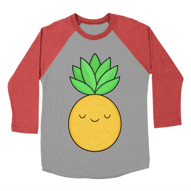 Happy Pineapple Men's Baseball Triblend T-Shirt by Kim Vervuurt