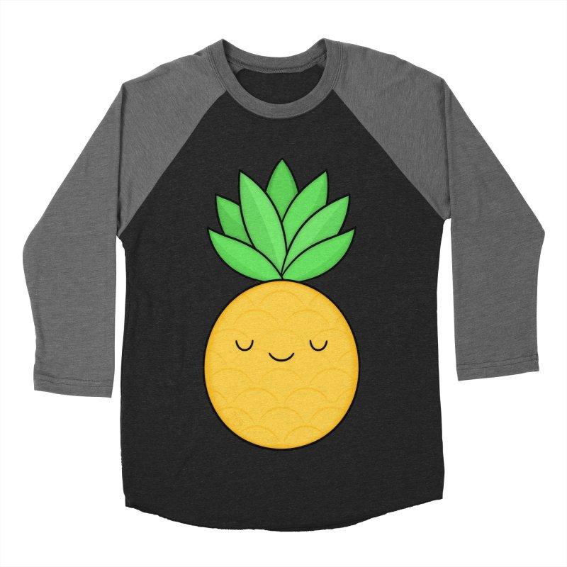 Happy Pineapple Men's Baseball Triblend Longsleeve T-Shirt by Kim Vervuurt