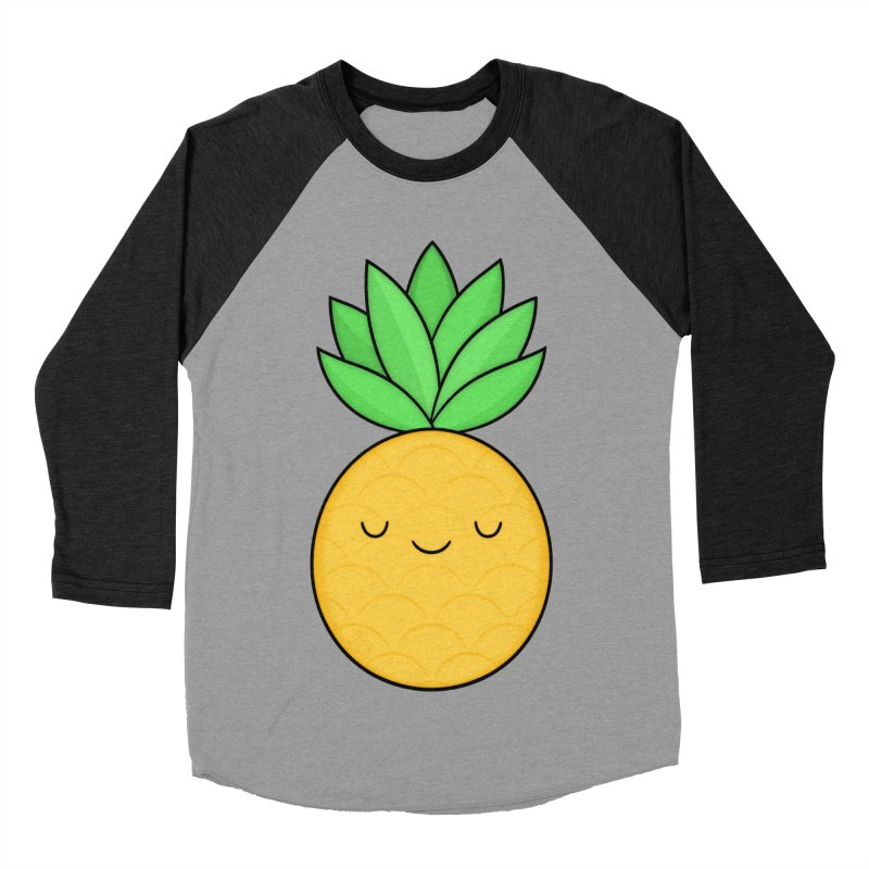 Happy Pineapple Men's Baseball Triblend Longsleeve T-Shirt by Kim Vervuurt