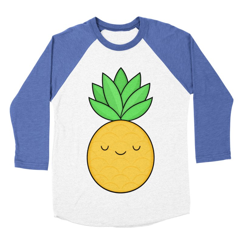 Happy Pineapple Men's Baseball Triblend T-Shirt by Kim Vervuurt