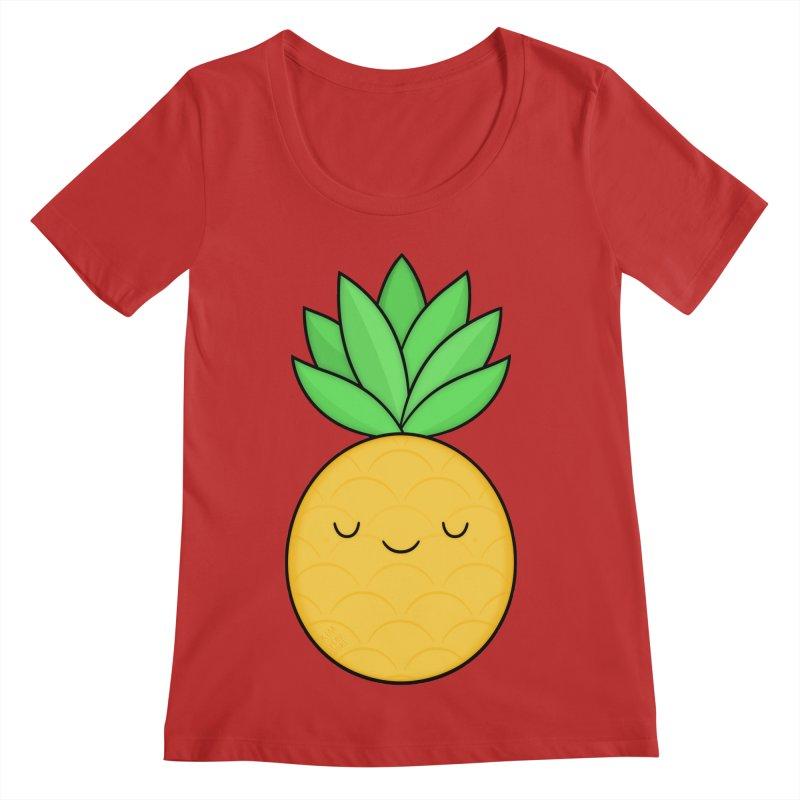 Happy Pineapple Women's Regular Scoop Neck by Kim Vervuurt