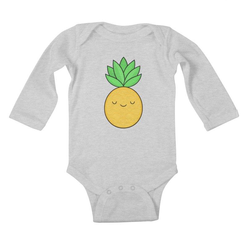 Happy Pineapple Kids Baby Longsleeve Bodysuit by Kim Vervuurt