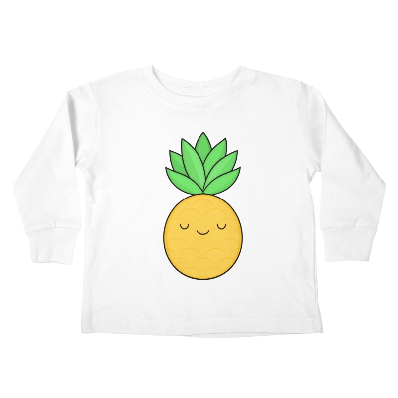 Happy Pineapple Kids Toddler Longsleeve T-Shirt by Kim Vervuurt