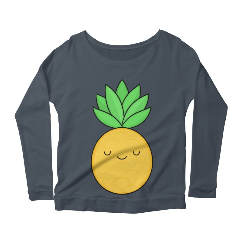 Happy Pineapple Women's Longsleeve Scoopneck  by Kim Vervuurt
