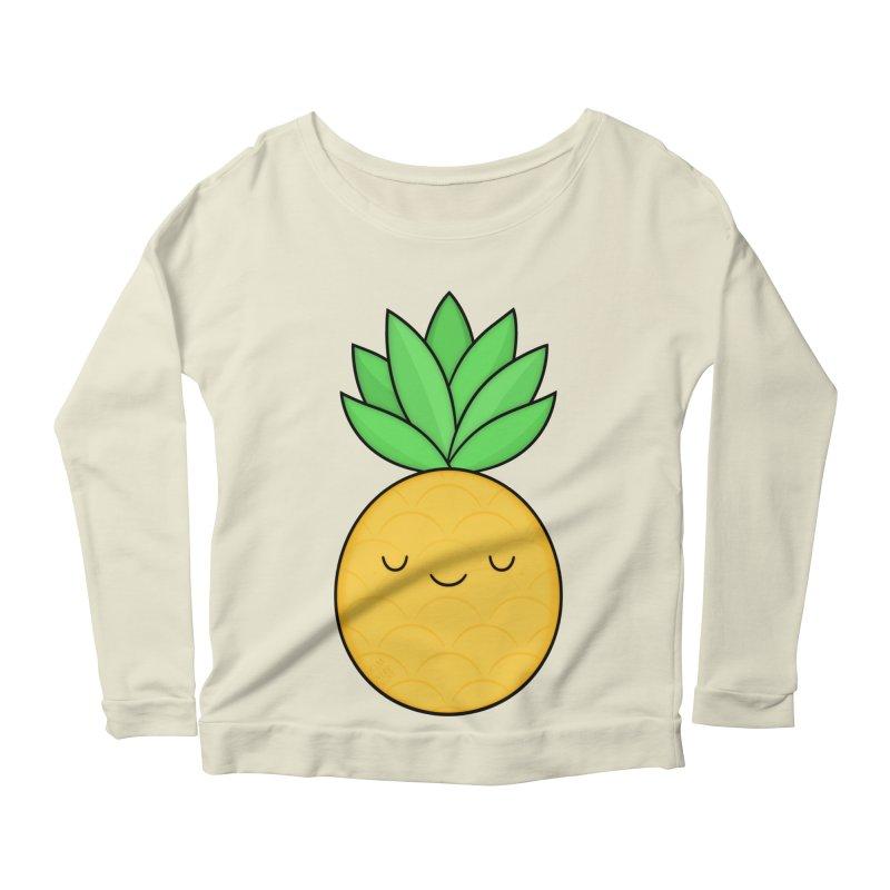 Happy Pineapple Women's Scoop Neck Longsleeve T-Shirt by Kim Vervuurt