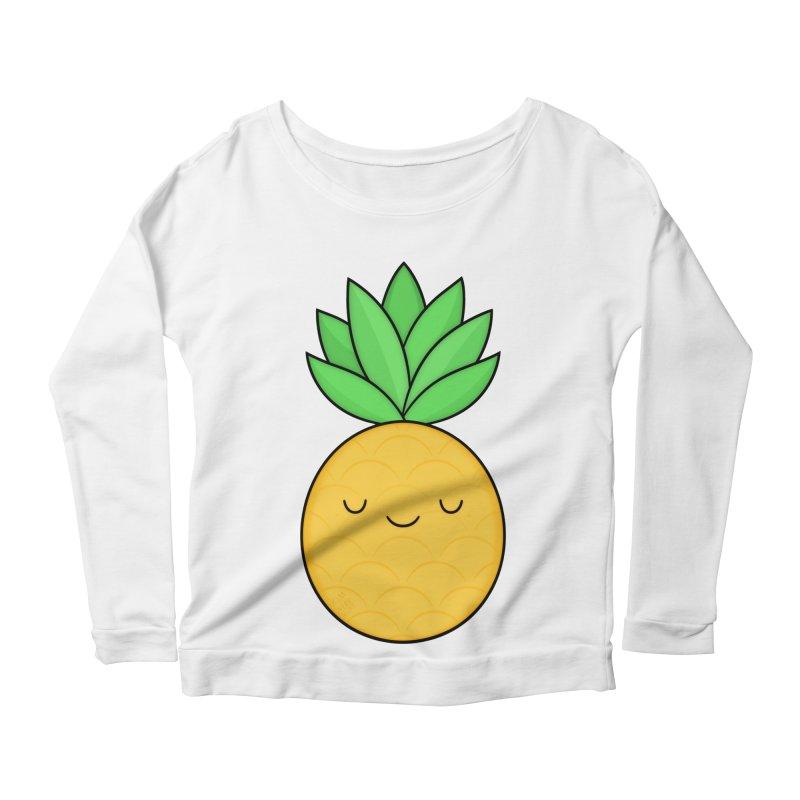 Happy Pineapple Women's Longsleeve Scoopneck  by Kim Vervuurt