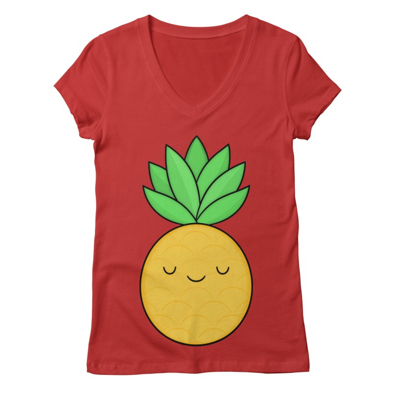 Happy Pineapple Women's V-Neck by Kim Vervuurt