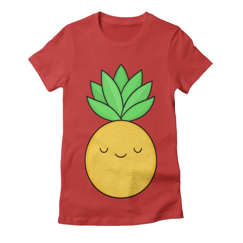 Happy Pineapple Women's Fitted T-Shirt by Kim Vervuurt