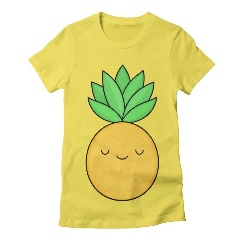 Happy Pineapple Women's Fitted T-Shirt by Kim Vervuurt
