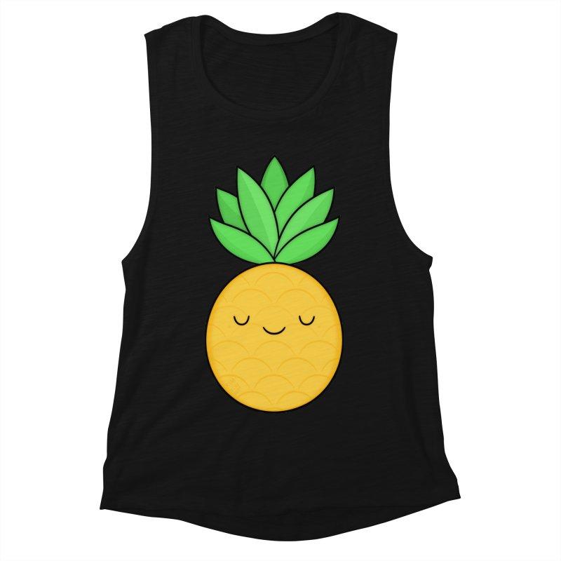Happy Pineapple Women's Muscle Tank by Kim Vervuurt