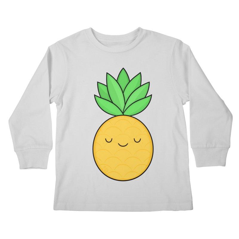 Happy Pineapple Kids Longsleeve T-Shirt by Kim Vervuurt