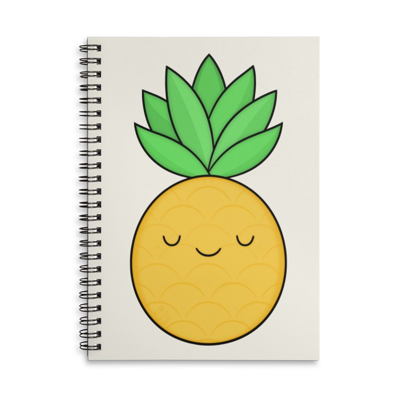 Happy Pineapple Accessories Lined Spiral Notebook by Kim Vervuurt