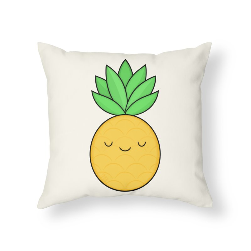 Happy Pineapple Home Throw Pillow by Kim Vervuurt