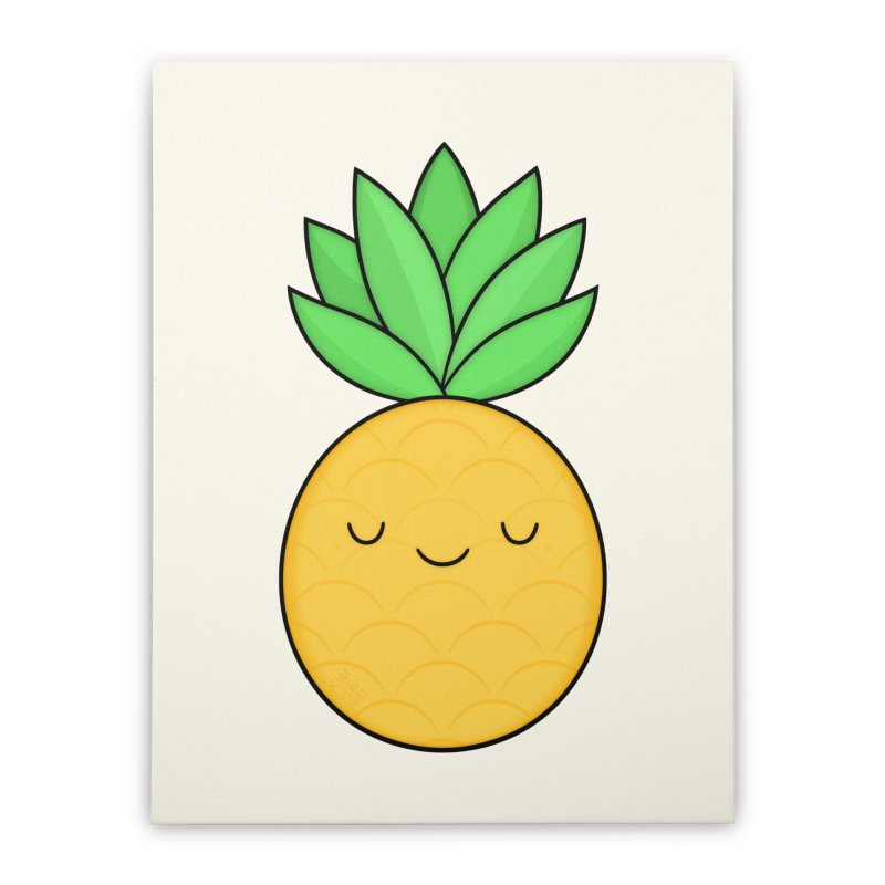 Happy Pineapple Home Stretched Canvas by Kim Vervuurt