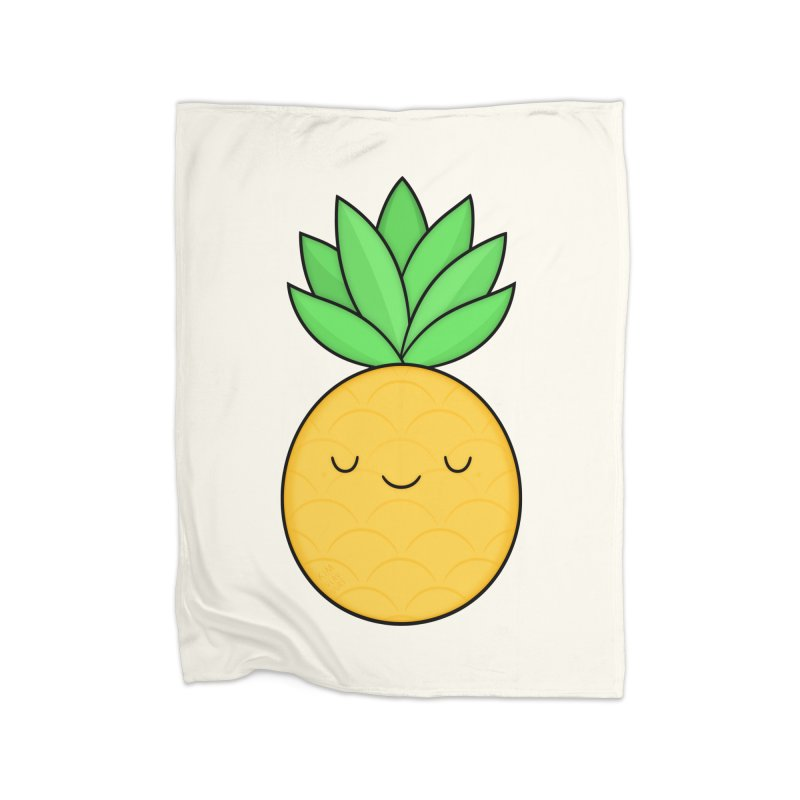 Happy Pineapple Home Fleece Blanket Blanket by Kim Vervuurt