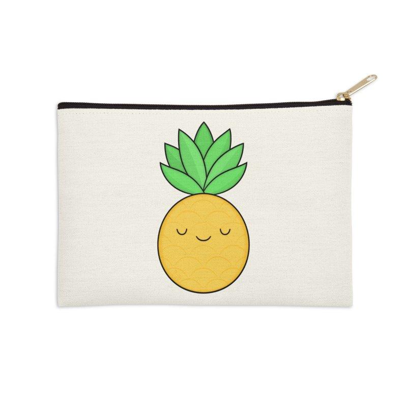Happy Pineapple Accessories Zip Pouch by Kim Vervuurt