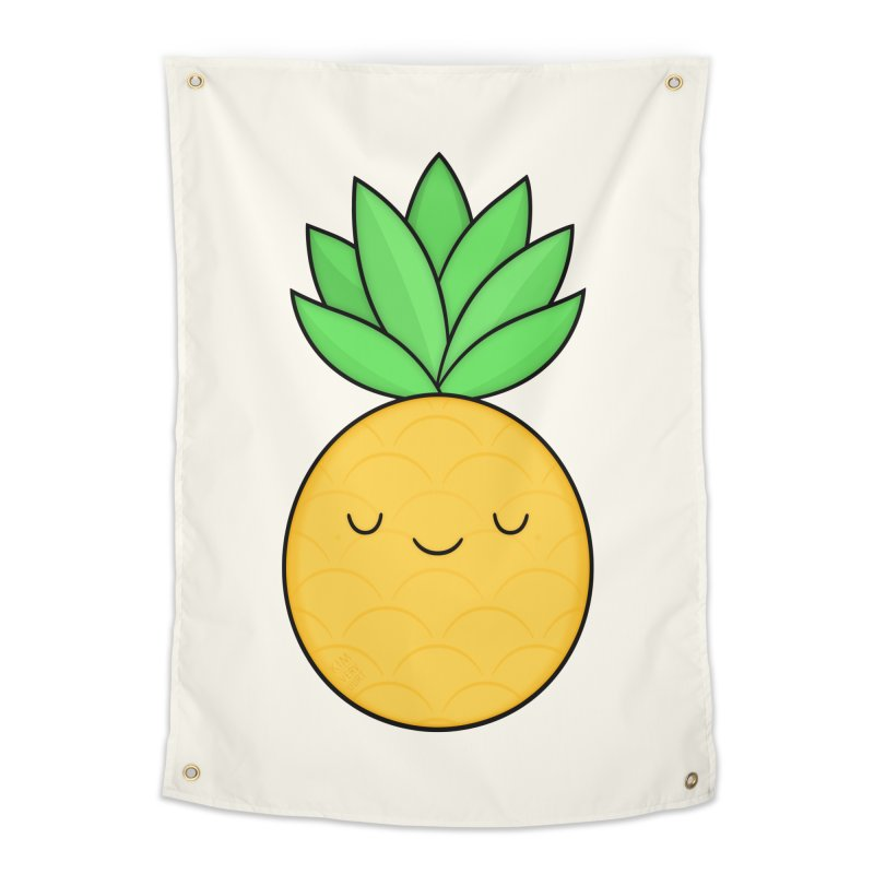 Happy Pineapple Home Tapestry by Kim Vervuurt