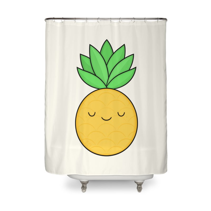 Happy Pineapple Home Shower Curtain by Kim Vervuurt