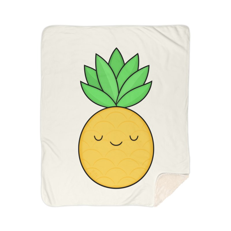 Happy Pineapple Home Sherpa Blanket Blanket by Kim Vervuurt