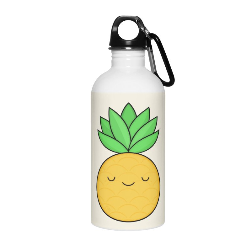 Happy Pineapple Accessories Water Bottle by Kim Vervuurt