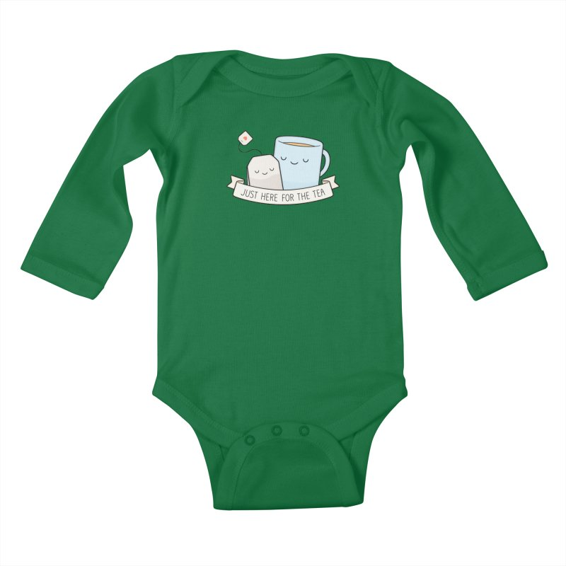 Just Here For The Tea Kids Baby Longsleeve Bodysuit by Kim Vervuurt