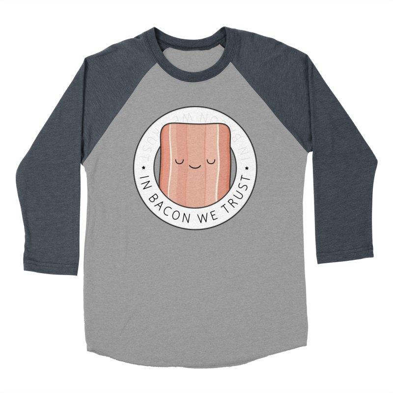 In Bacon We Trust Men's Baseball Triblend Longsleeve T-Shirt by Kim Vervuurt
