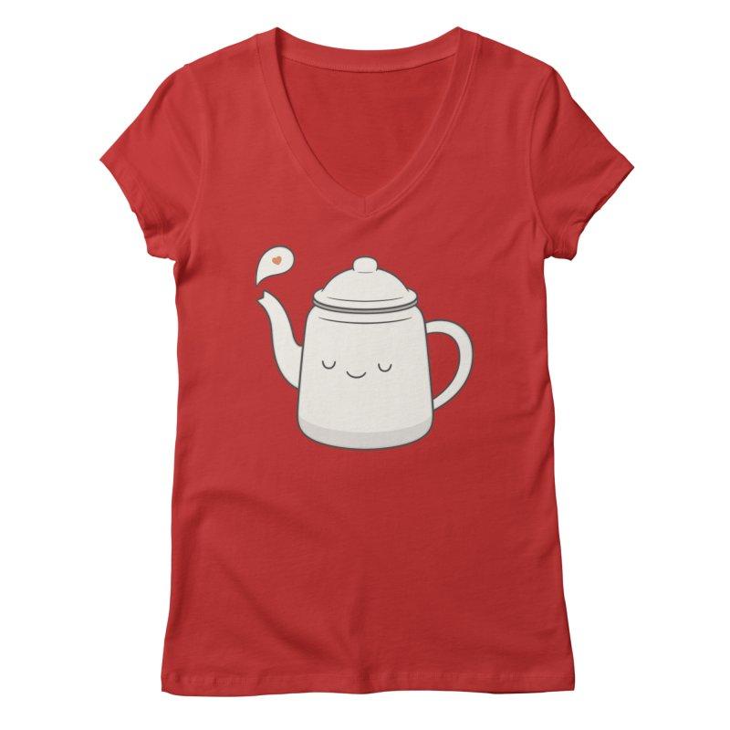 Teapot Women's V-Neck by Kim Vervuurt